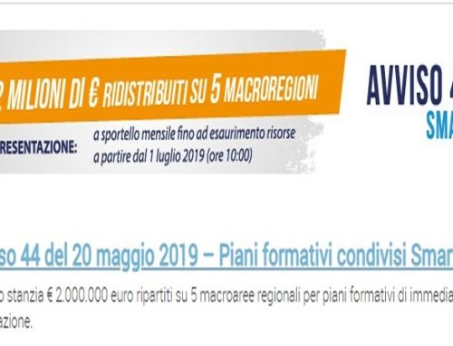 Avviso 44 Smart di Fon.Coop: stanziati 2.000.000 di euro su 5 macroaree regionali